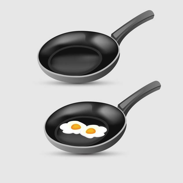 Vector illustration of fried eggs on frying pan - vector gratuit #126924