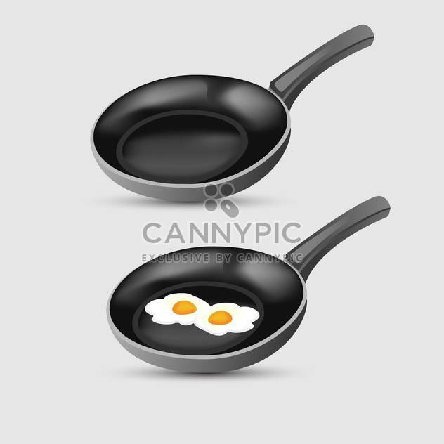 Vector illustration of fried eggs on frying pan - Free vector #126924