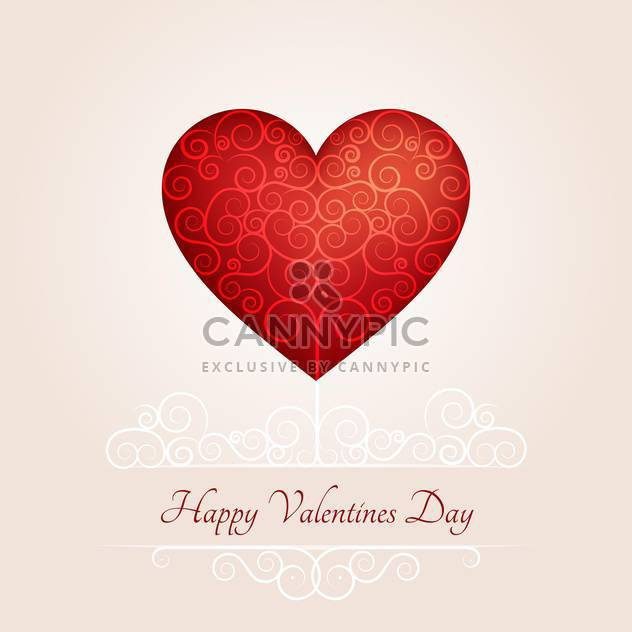 Valentine day greeting card with red heart and text place - vector gratuit #126974
