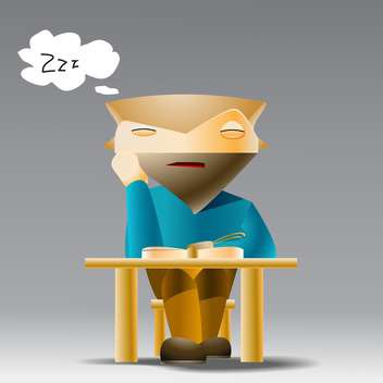 Vector illustration of catoon student sleeping at desk on grey background - vector gratuit #126994