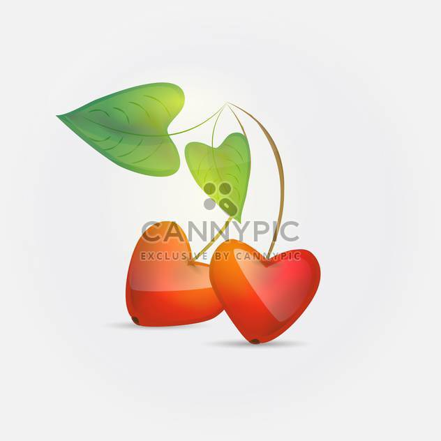 heart shaped cherries on white background - Free vector #127024
