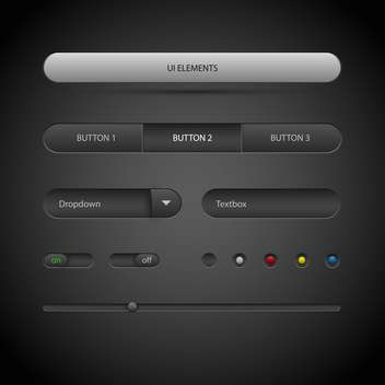 vector illustration of ui elements on dark background - vector #127054 gratis