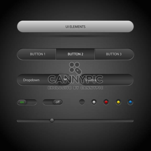 vector illustration of ui elements on dark background - Free vector #127054
