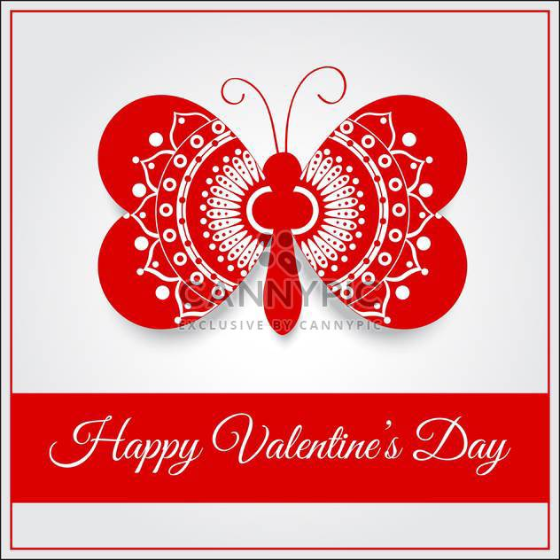 Vector greeting card with butterfly for Valentine's day - Free vector #127084
