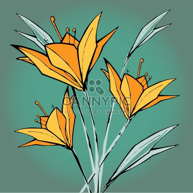 Vector floral background with yellow lilies flowers - Free vector #127114