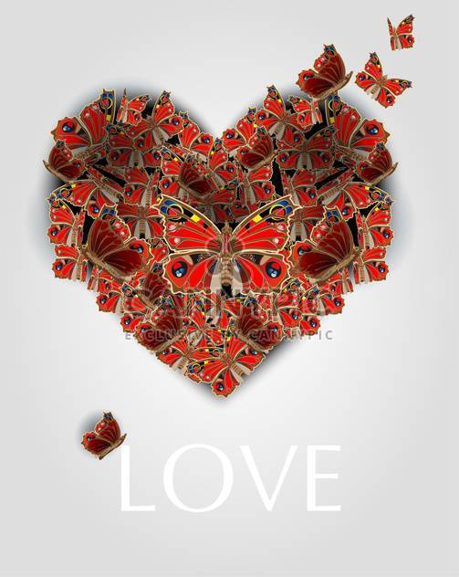 Vector illustration of heart with butterflies for valentine card - Free vector #127154