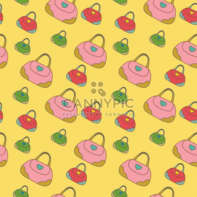 Seamless texture with fashionable bags on yellow background - Free vector #127244