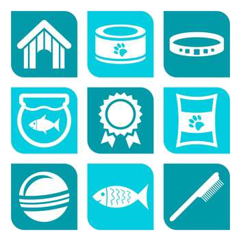vector collection of pet care icons on blue background - vector #127294 gratis