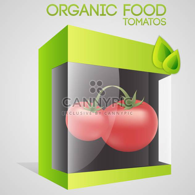 Vector illustration of tomatoes in packaged for organic food concept - Free vector #127314