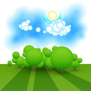 colorful illustration of green landscape with trees - vector gratuit #127324