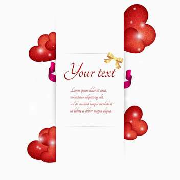 Vector illustration of red hearts with white banner and text place - vector gratuit #127334