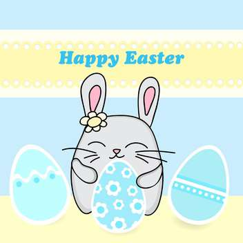 Happy Easter Card with easter bunny with eggs - Free vector #127344