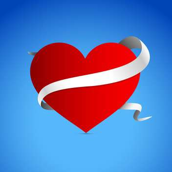 holiday background with red heart on blue background - vector gratuit #127374