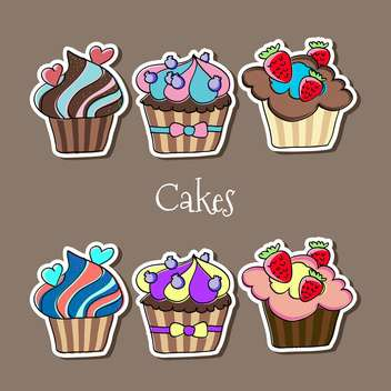 Vector set of delicious colorful cupcakes - Kostenloses vector #127414