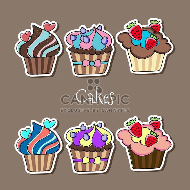 Vector set of delicious colorful cupcakes - Free vector #127414