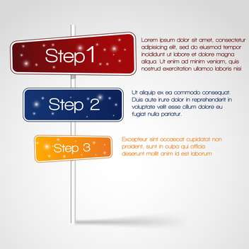 Web Design with three steps and text place - Free vector #127454
