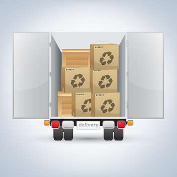 vector illustration of delivery truck with boxes on white background - Free vector #127484