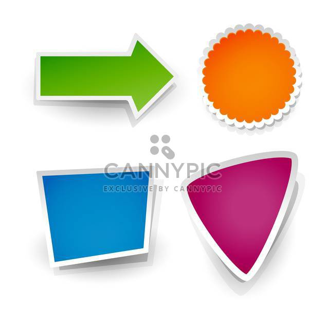 Vector set of colorful stickers on white background - Free vector #127504