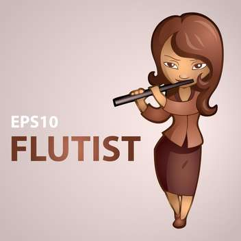 Vector illustration of female flutist on pink background - vector #127544 gratis