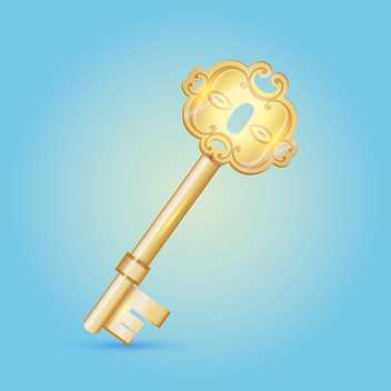 vintage vector golden key on blue background - vector gratuit #127574