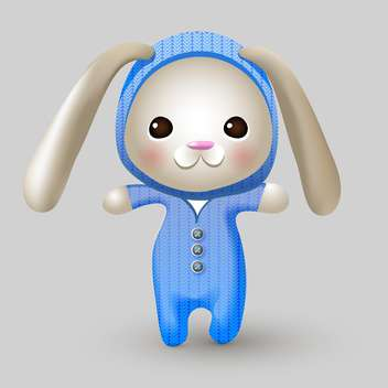 Cute bunny doll on grey background - vector gratuit #127594