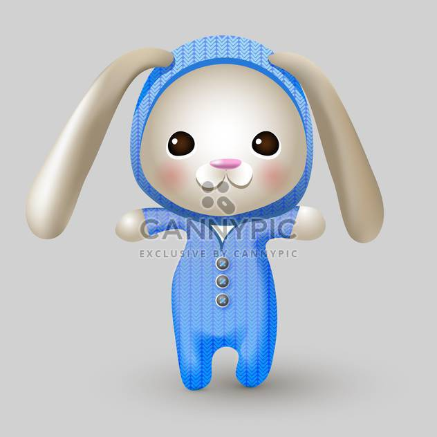 Cute bunny doll on grey background - Free vector #127594