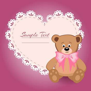 teddy bear and big heart for Valentines Day with text place - vector gratuit #127624