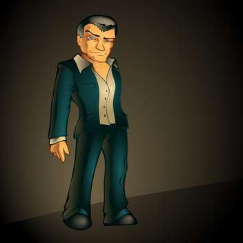 cartoon man in suit on dark background - бесплатный vector #127684