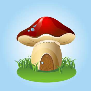 mushroom home with green grass on blue background - vector gratuit #127704