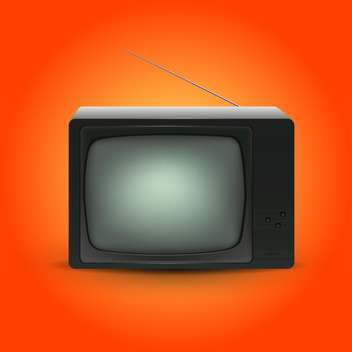 vector illustration of retro tv on orange background - vector gratuit #127744