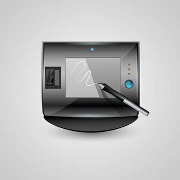 Vector graphic tablet icon on grey background - vector gratuit #127754