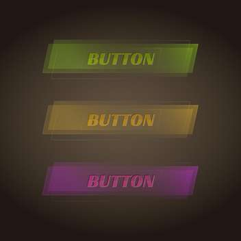 vector set of three colorful buttons on dark background - vector gratuit #127784