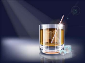 Vector whisky glass on dark background - vector gratuit #127794