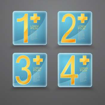 Vector set of blue buttons with yellow numbers on grey background - Free vector #127804