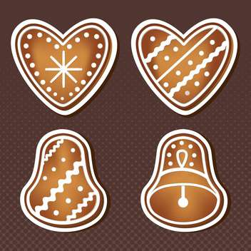 sweet christmas cookies on brown background - vector gratuit #127814