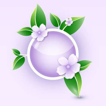vector illustration of round shaped floral icon with green leaves - бесплатный vector #127824