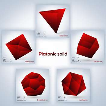 red vector set of geometric shapes of platonic solids on grey background - vector gratuit #127834