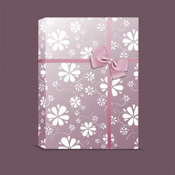 vector picture of violet gift with small flowers - vector gratuit #127844