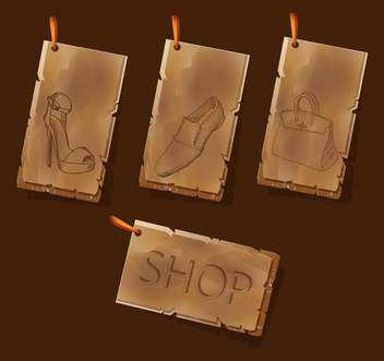 Vector vintage brown shopping labels - vector gratuit #127864