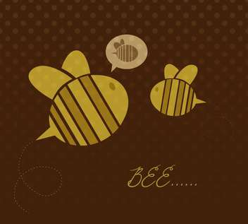 Cute yellow color cartoon bees on brown background - vector gratuit #127914