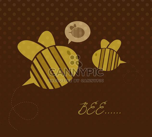 Cute yellow color cartoon bees on brown background - Kostenloses vector #127914