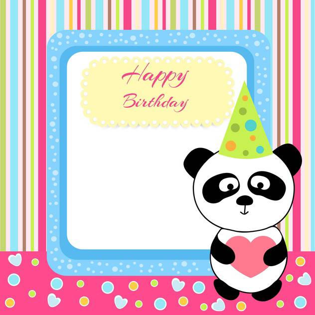 Vector cute panda with birthday card and text place - vector gratuit #127964