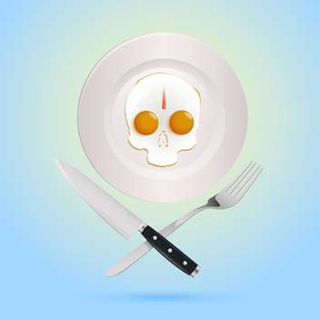 Vector illustration of a fried eggs in pirate skull form - Free vector #128134