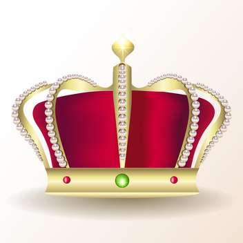 Gold royal crown vector icon, isolated on white background - Free vector #128144