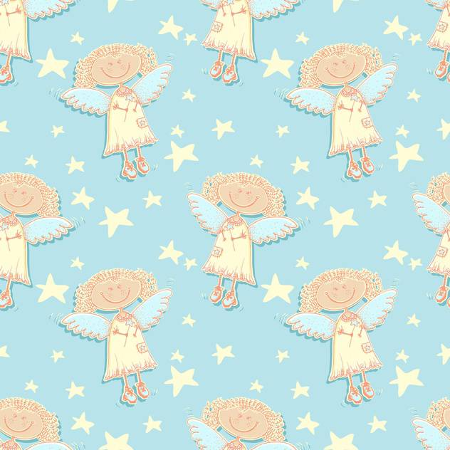 Holy vector angels and stars background - Free vector #128224