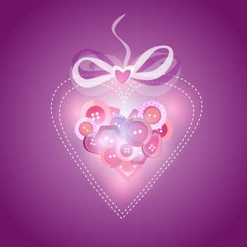 Pink heart filled with buttons, vector illustration - бесплатный vector #128254