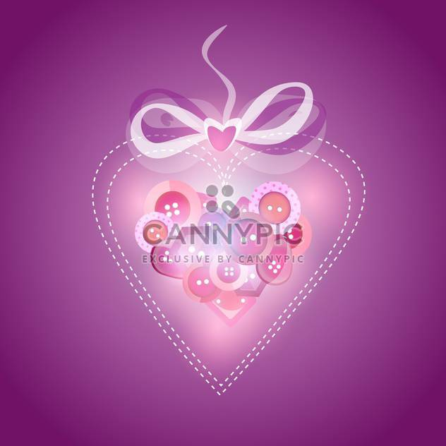 Pink heart filled with buttons, vector illustration - Free vector #128254