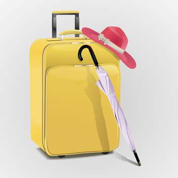 Yellow travel suitcase with hat and umbrella - vector gratuit #128264
