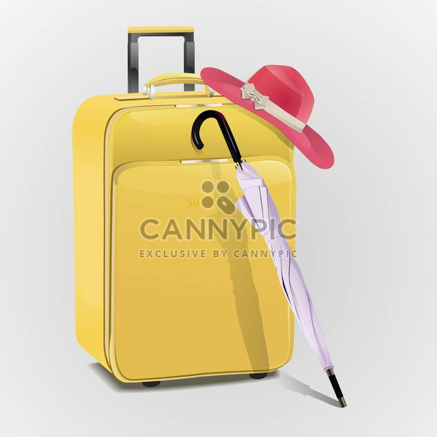 Yellow travel suitcase with hat and umbrella - Kostenloses vector #128264