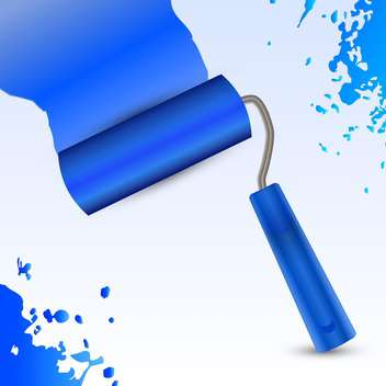 Blue vector roller brush - vector gratuit #128374